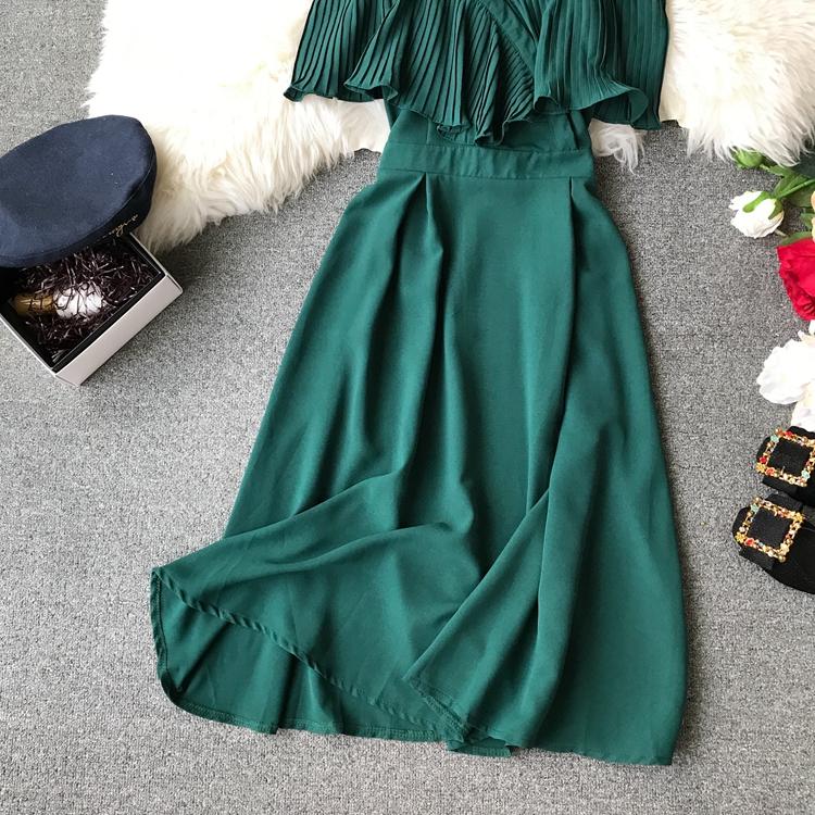 2019 Spring Women Chiffon Pleated Braces Sling Spaghetti Strap Goffer Long Dress Ladies Ruffles Empire Drapped Swing Slip Dress 146