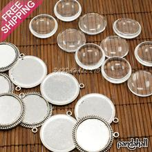 25mm Transparent Clear Domed Magnifying Glass Cabochon Cover for Photo Pendant Making, with Antique Silver Alloy Settings, Lead