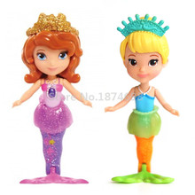 New Sofia The First Toys Princess Sofia and Amber Oona Mermaid Set of 2 Mini PVC Action Figure Doll Toy Kids Girls Gifts