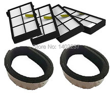 4 Pack HEPA Filter Filters 2 Plastic Bumpers Guard Black Pad For iRobot Roomba 800 Series 870 880 900 series 980