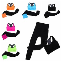 2pcs Women Yoga Sport Sets  Quick Dry Fitness Stretch Seamless Bra Tank Top+Pants Leggings Set 2017 Gym Breathable Sports Wear