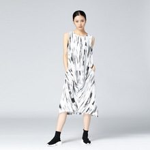 Women Retro Dres Printing Sleeveless O-neck Lady Dress Split The Fork Cotton Korean Style for Women Dresses 2017 Summer New