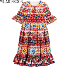 W.L.MONSOON Dress Girls Costumes Ruffled Half Sleeve 2017 Brand Summer Rose Flower Dress Kids Clothes Robe Enfant Princess Dress