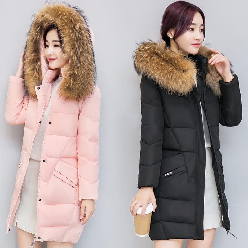 Winter Coats Women With Big Fur Collar Letter Slim Thick Warm Clothing Outerwear Plus Size Medium-Long Cotton Parkas jacketÎäåæäà è àêñåññóàðû<br><br>