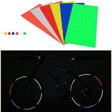6Pcs Bicycle Tire Wheel Fluorescent Reflector Stickers Rim Reflective Decal Tape Security Pegatinas Bicicletas
