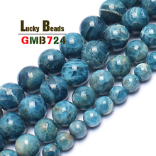 AA+ Natural Genuine Blue Ocean Apatite Stone Round Beads For Jewelry Making 15inches 4/6/8/10/12mm Semi-Precious Stone Beads(China)