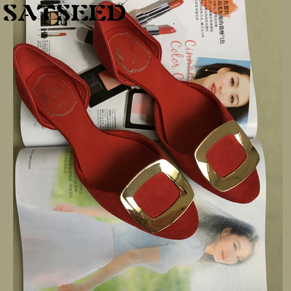 2018 Spring Women Shoes Black Genuine Leather Shoes Flat Metal Buckle Red Wedding Shoes Sexy Dress Casual Round Toe Fashion New<br>