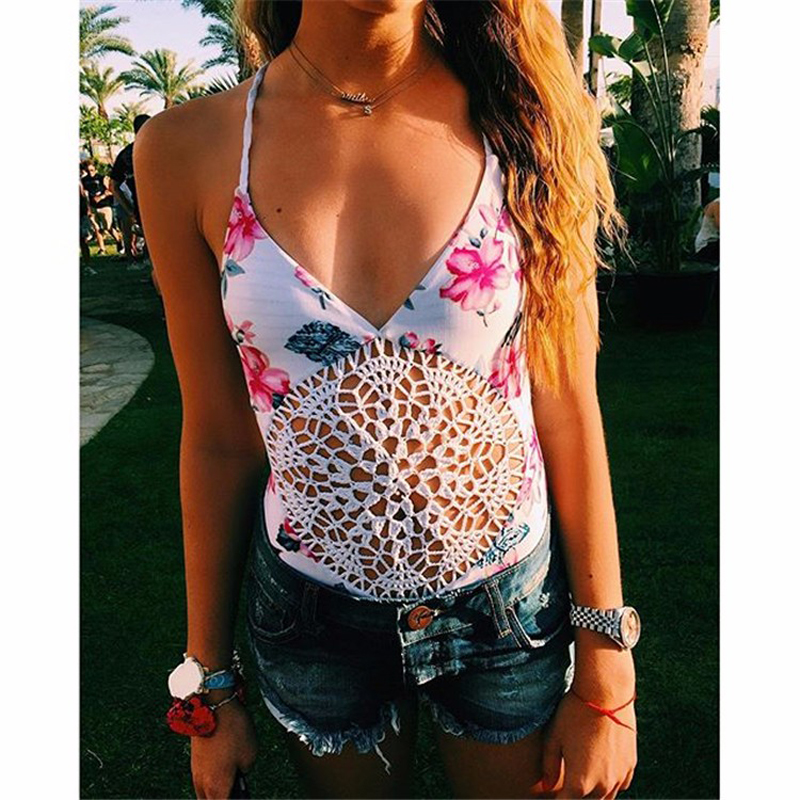Sexy flower print hollow women swimwear one piece deep V style lacing white one piece swimsuit womens swimsuit 121-A8817<br>