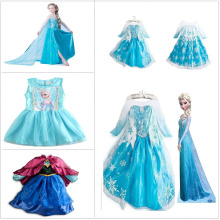 2016 New Fashion Custom Anna Elsa Girls Dresses Children Dress Kids Party Vestidos Baby Cinderella Cosplay Dress Pincess Dresses