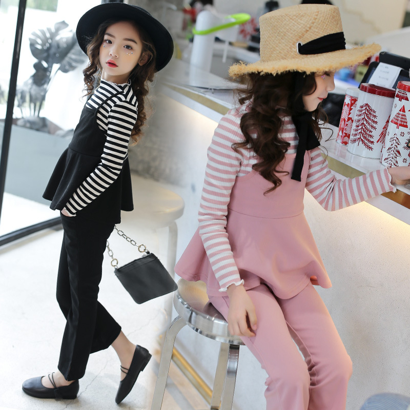 Kids Girls Spring Suit Children Two Pieces Striped Top + Flare Pants Childrens School Party Clothing Set age 3 5 8 12<br>
