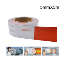 Buy 50mm X 5m Car Reflective Stickers Warning Strip Reflective Truck Auto supplies Night Driving Safety Secure Red White Sticker for $7.63 in AliExpress store