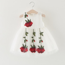 3 Colors Children's Clothing  Cute Embroidery Rose Princess Dress Baby Girls Costumes