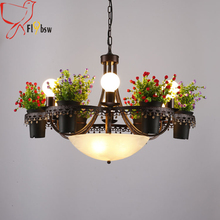 American Village Plant Flower Pot Creative Pendant Lights,9 lights E27 iron+glass hanging lamp Living Room deco Suspension lamp