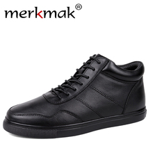 Merkmak Men 겨울 Boots 와 퍼 Shoes Lace Up Warm 눈 Boots 대 한 Men (High) 저 (Quality 가죽 Shoes Luxury 발목 부츠 Shoes 48(China)