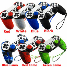 1 PCS Soft Silicone Protection Case with Hand Wrist Strap for Sony Playstation 4 PS4 Pro Slim Wireless Controller + 2 pcs Grips(China)