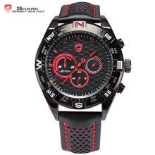 Shortfin Shark Sport Watch Dashboard Speedy Leather Band Red Black Dial Date 24Hrs Mens Quartz Racing Wrist Watches Gift /SH420