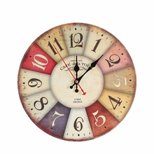 30cm Retro European Style Wall Mounted Clock Round Colorful Faux wood Wall Clock Home Room Hang Decoration