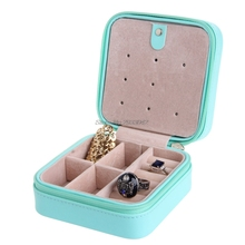 Cosmetic Faux Leather Jewelry Box Necklace Ring Travel Storage Case Display-W128