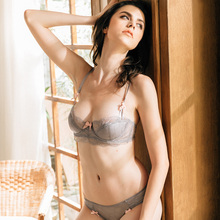 CINOON Sexy lace underwear bra suit Europe and the United States small chest beautiful girl thin section comfortable half cup