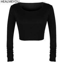 Popular Sexy Women Crooped Tops Long Sleeve Hot Clubwear Tops Cropped Shirt Navel-baring Free Shipping(China)