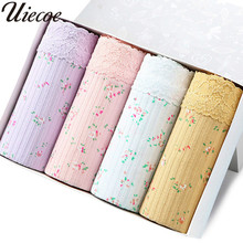 Buy UIECOE Panties 4 Pieces/lot Lace Women Cotton Brief Underwear High-waist Solid Panties Breathable Ladies Underpants Female
