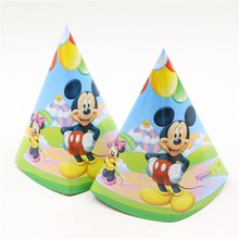 10pcs happy birthday party decorative paper hat/tricone event party supplies mickey mouse theme paper cap baby shower favors(China)