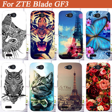 "For Zte Blade GF3 Case Cover,Luxury Diy UV Painting Colored Tiger Owl Rose Towers Soft Tpu Case For Zte Blade GF3 4.5"" Cover bag"