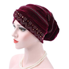 Turban Caps Luxury Woman Velvet Turban Twist Pleated Hair Wrap Beanie Hat with Gold Jewelry Brooch Hijab Turbante Hats(China)