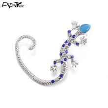 Pipitree Animal Gecko Ear Cuff Earrings for Women Fashion Accessories Big Clip Ear Climbers Rhinestone Stud Earrings Jewelry(China)