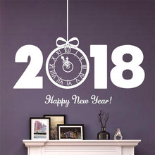 Big 2018 Letter Happy New Year window wall sticker decal Clock Zero Gift shop showcase sticker glass door decor sticker 2018(China)