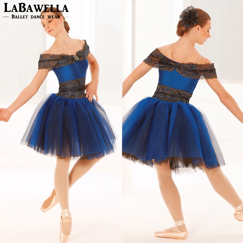 performance lyrical stage ballerina dress tutu girls adult dance costume blue romantic tutu dress child BL0057