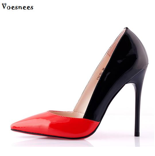 Shoes 2016 High Heels Elegant White Collar Womens Shoes high-heeled shoes 12cm thin heels pointed toe single shoes color block<br>