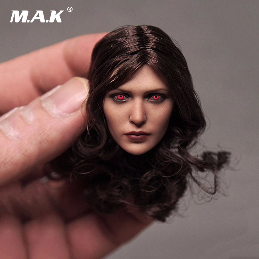Elizabeth Olsen Female Head Sculpts Model Toys 1/6 Scale Scarlet Witch Red Eye Terror Woman Head Carving Model   For 12 Figure <br>