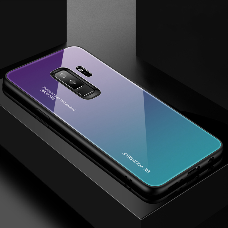 Toughened Glass Back Case For Samsung Galaxy S8 S9 Plus Case Color Conversion Phone Case For Samsung Galaxy Note 8 Note 9 Case
