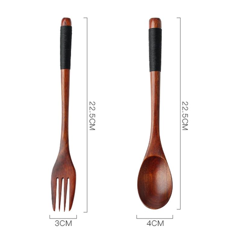Set of 2 Wooden Spoon Fork Set Long Handle Japanese Style Wood Soup Spoon Dinner Salad Fork Kids Outdoor Cutlery Kitchen Utensils (7)