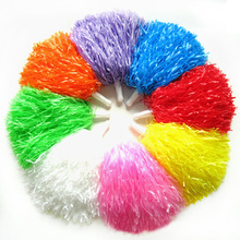 1Pair/Cheering pompom Flower Cheerleaders Took Ball Bouquet Cheerleaders Hand Flowers Rings and Plastic Handles for Sports Match(China)