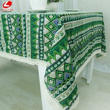 Bohemia Style spring greenTablecloth New Year table covers cotton + Linen table cloth suqare rectangle home decor 140*220cm(China)