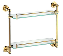 Free shiping copper gold paint double layer glass shelf shelving bathroom shelf bathroom shelf GB012c-1(China)