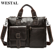 WESTAL Genuine Leather Bag Laptop Leather Men Briefcases Handbag Men Bag Shoulder Crossbody Bags for Men's Travel Messenger Bags