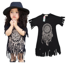 Girls dress 2016 new style summer children's clothing personality loose-fitting style baby black wild fringed dress