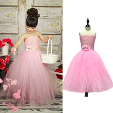 Pink Color Baby Tutu Dress with Flowers Wedding Flower Girl Tutu Dress Children Girl Party Summer Dress Clothing(China)