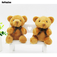 10Pcs/Lot Kawaii Small Joint Teddy Bears Stuffed Plush With Chain Sit Height 9CM Teddy-Bear Mini Bear Ted Plush Toys Gifts 0172(China)