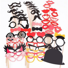 50Pcs/Set Fun DIY/Christmas Photo Booth Props Photobooth Glasses Mustache Mask Lip Wedding Picture Prop Christmas Party Supplies