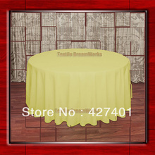 "Hot Sale  132"" R Lemon  Round Table Cloth Polyester Plain Table Cover for Wedding Events &Party Decoration(Supplier)"