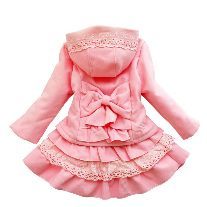 Autumn Girls Skirt Set Children Woolen Set Kids Long Sleeve Hooded Coat+skirt 2pcs Princess Clothing for 3y-10y<br>