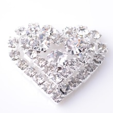 Heart Rhinestone Embellishment Button 25MM 100pcs/lot Flat Back Used On Wedding Silver Color