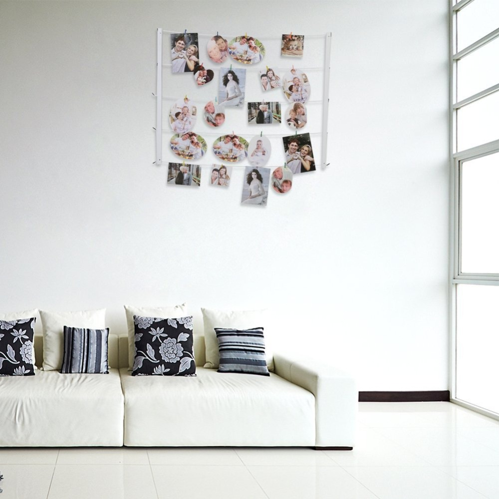 Giftgarden Multi Wall Hanging Picture Frames Set Collage Photos Display with 30 Clips & Twines Artworks Prints