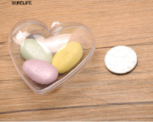 50pcs Clear Heart Plastic Candy Box Transparent Wedding Favors and Gifts Wedding Candy Box Event Party Supplies