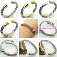 Charming Women's Wire Wrist Jewelry 316L Stainless Steel Silver Gold Multiple Choices Simple Bracelet Bangle Perfect Technology(China)