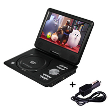 LONPOO Portable DVD Player RCA Car Charger Portable TV 9 Inch Swivel Screen DVD Player for Cars Game USB with Battery Portable